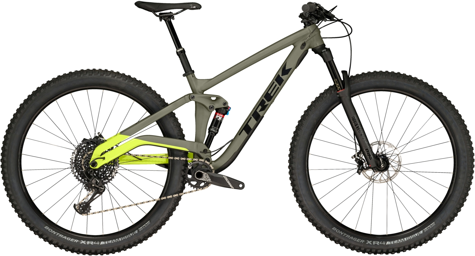 Trek Full Stache 8 - Matte Olive Grey/Gloss Volt Green 17.5