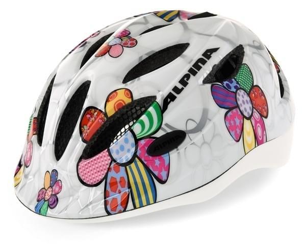 Dětská přilba na kolo Alpina Gamma Flash + blikačka - white flower 46-51