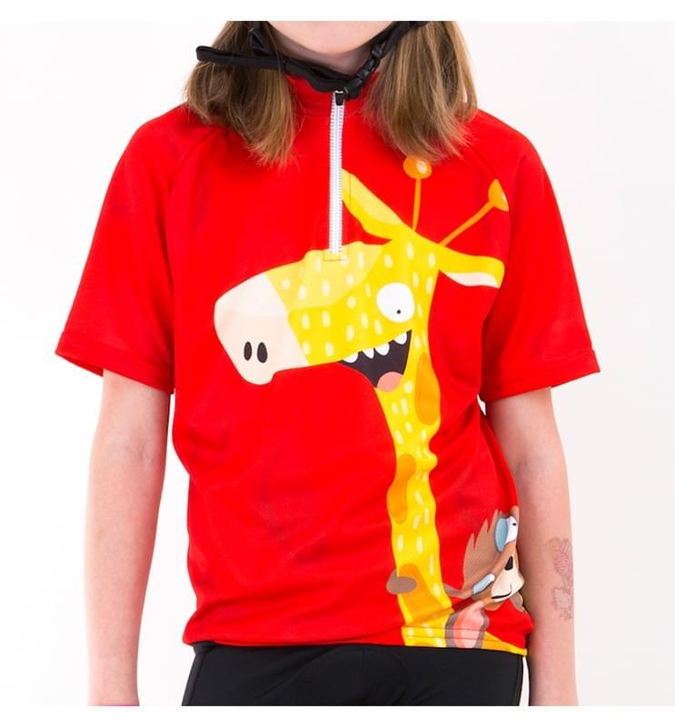 Dětský cyklistický dres Skibi - Žirafák Olaf 104/110 red
