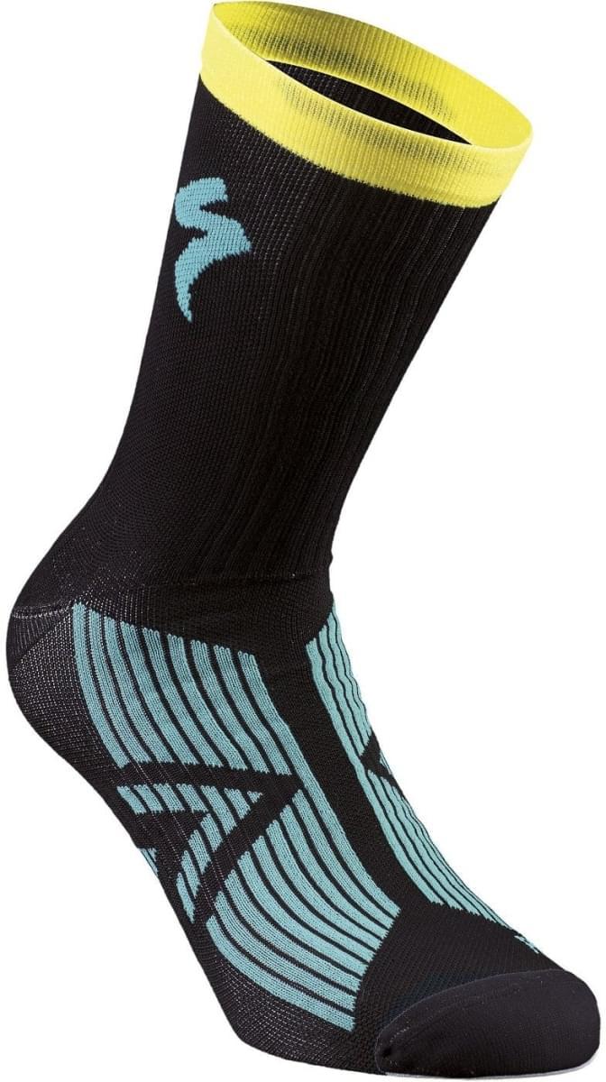 3a9a4fead Cyklistické ponožky Specialized Sl Elite Summer Sock - black/dark teal/ yellow