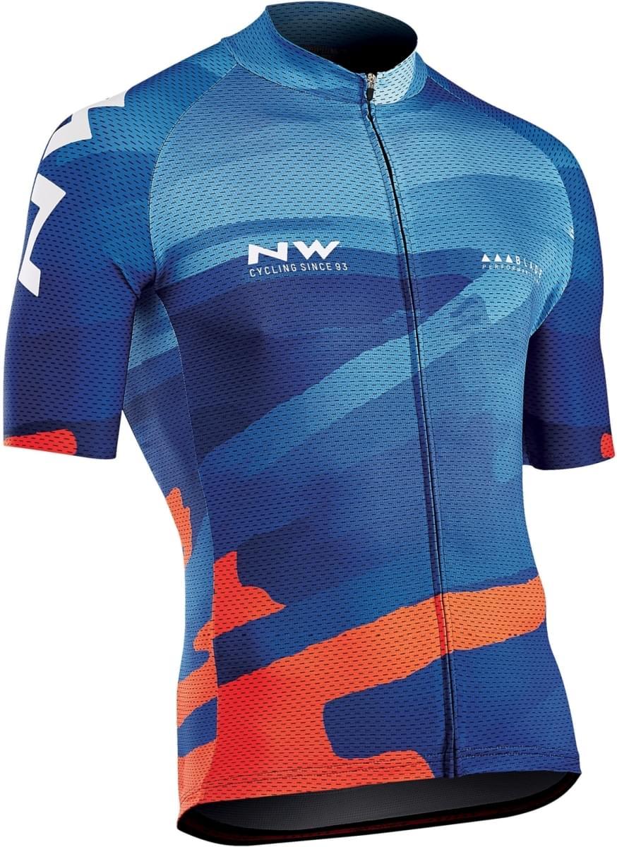 Northwave Blade 3 Jersey Short Sleeves - Blue/Orange L