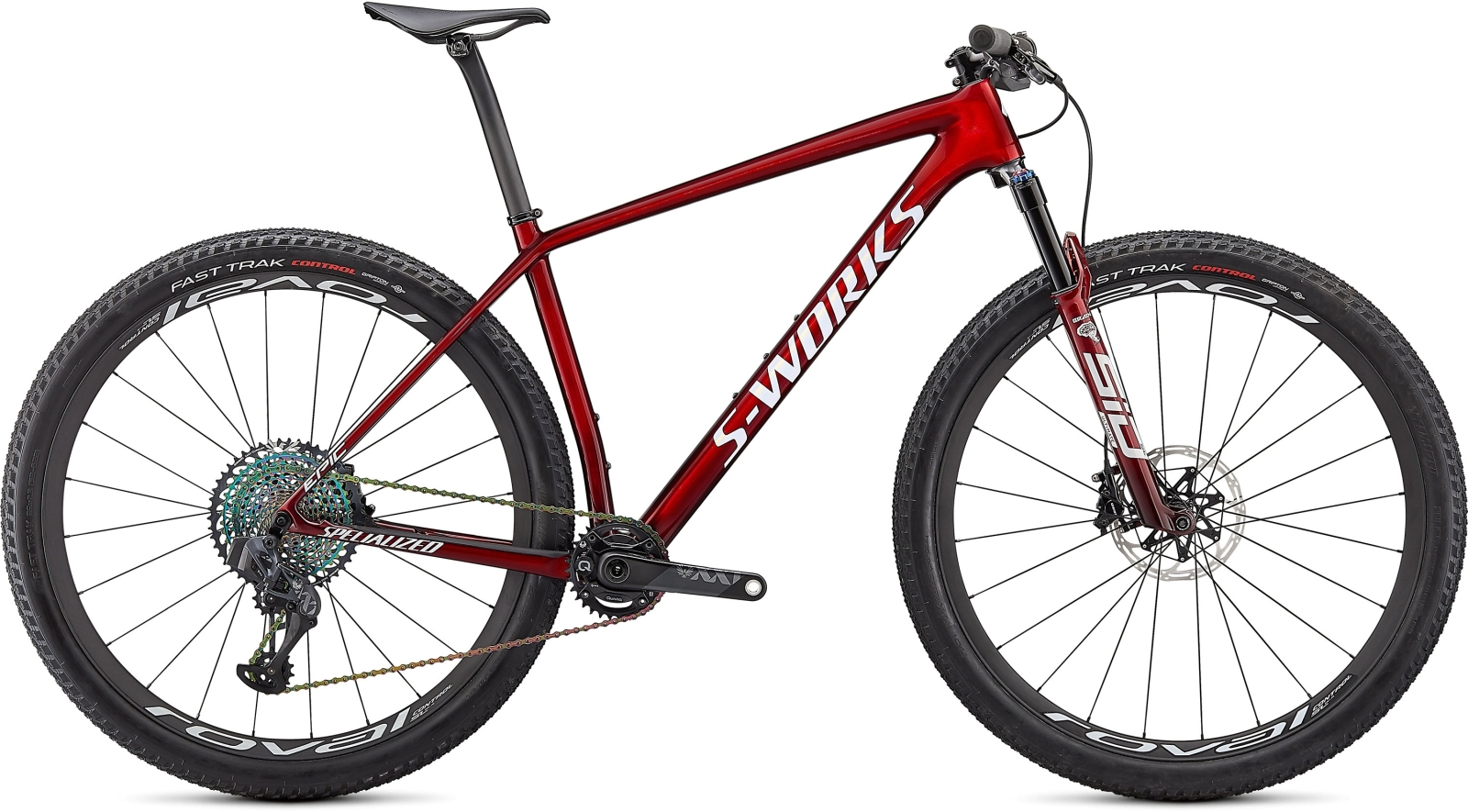 Specialized S-Works Epic HT - Red Tint Carbon/Brushed/White M