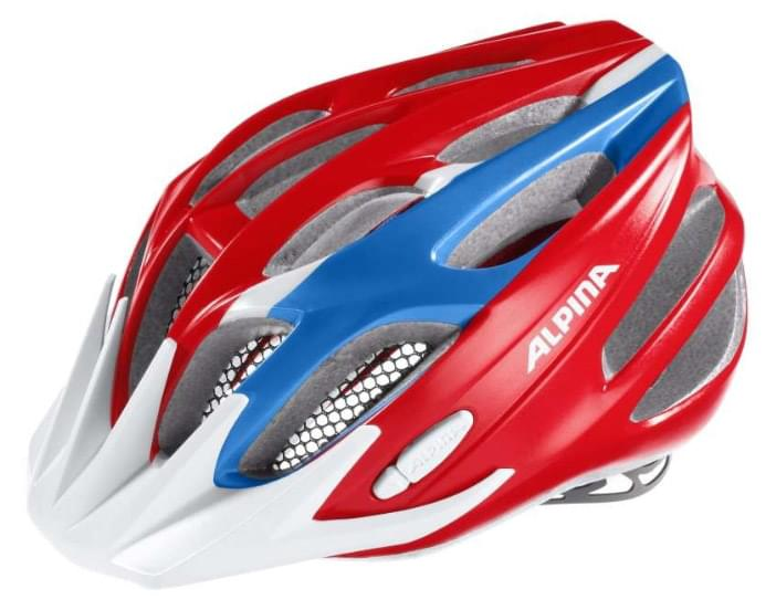 Dětská cyklistická helma Alpina FB Junior 2.0 – red/blue/white 51-55