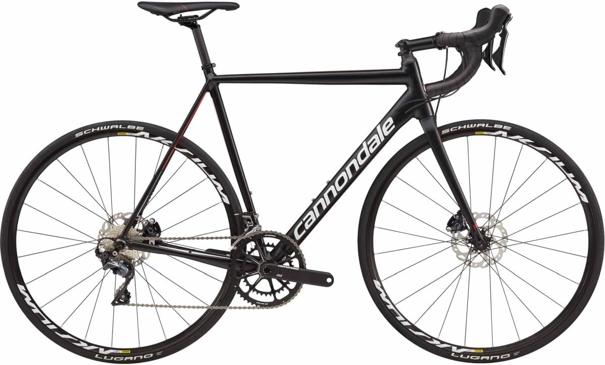 Cannondale CAAD12 Disc Ultegra - Jet Black w/ Cashmere, Acid Red and Fine Silver - Satin/Gloss (BLK) 56