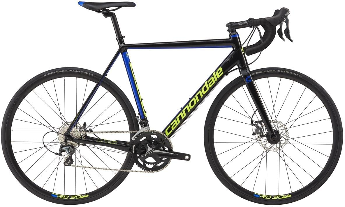 Cannondale CAAD Optimo Tiagra Disc - jet black w/cerulean blue and volt gloss 56