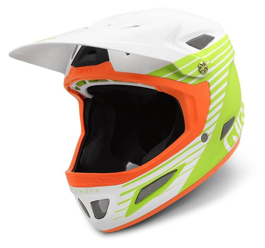 Cyklistická integrální helma Giro Cipher - matte white/lime/flame M