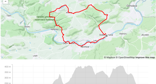 SBCRoute z Dobřichovic, Třebáň, Karlštejn, Roblín | MTB | 26km | 532m