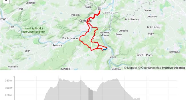 SBCRoute Jíloviště, Trnová, Všenory, Černošice | MTB | 36km | 429m