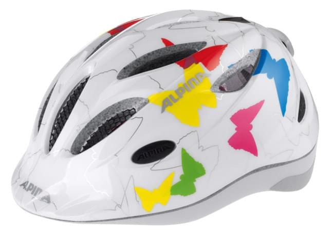 Dětská přilba na kolo Alpina Gamma Flash + blikačka – white/butterfly 46-51